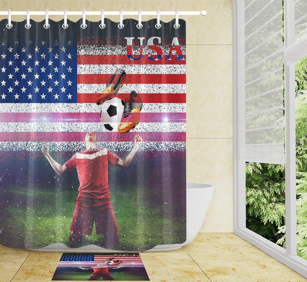 Stripe Football Shower Curtain Sets