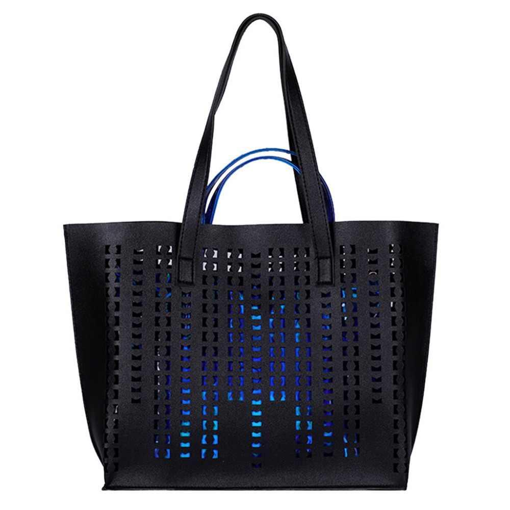 Cross body fashion ladies hollow solid color leather shoulder bag laser women handbag set pu leather  A1