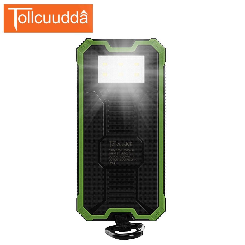 Tollcuudda Portable Phone Charger Battery Cargador Solar Power Pover Bank For IPhone6 Xiaomi External Powerbank Mobile