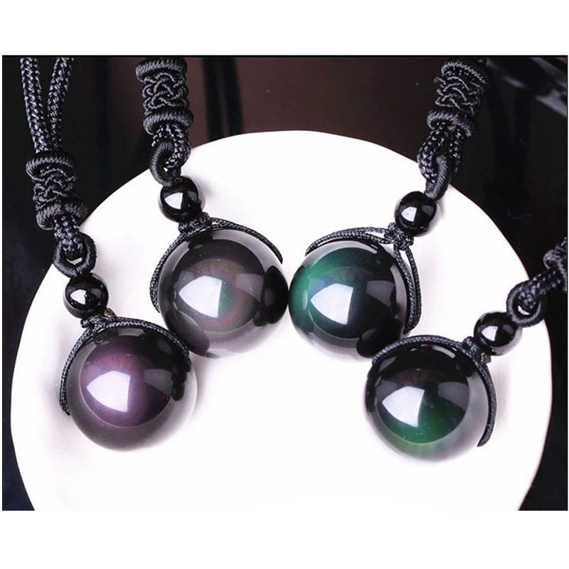 1Pc Black Obsidian Rainbow Beads Eye Ball Natural Stone Necklace Pendant Transfer Lucky Love Crystal Jewelry Free Rope For Women