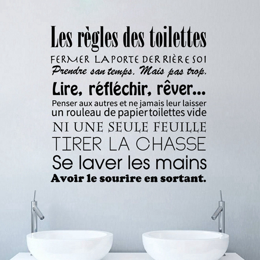 Toilette WC salle de bains autocollants français toilette règles vinyle Sticker Mural Stickers muraux Art Mural papier peint décor à la maison DW1018