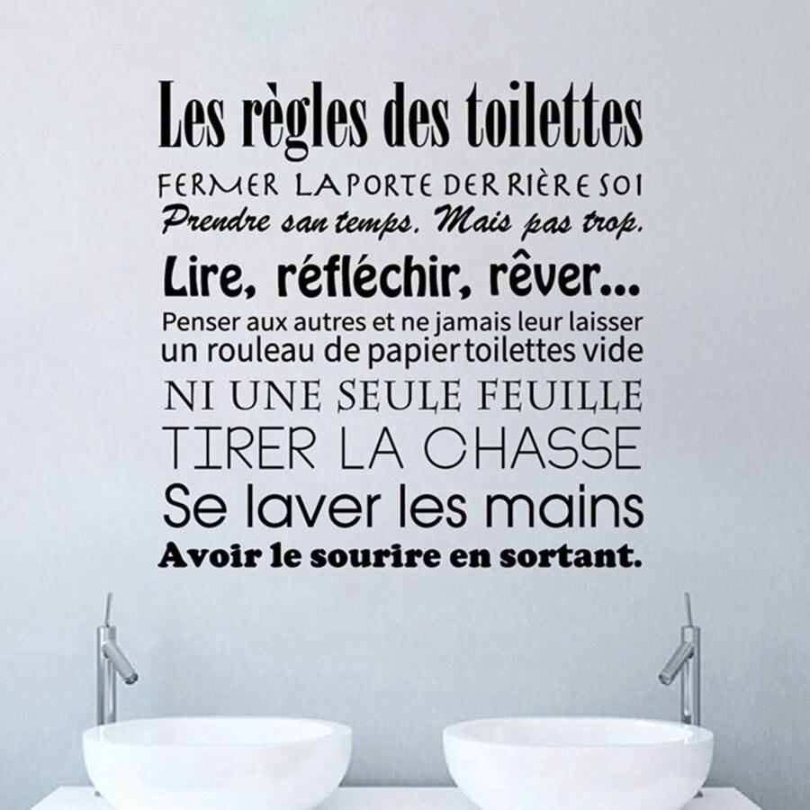 Wc WC Banheiro Adesivos Francês Banheiro Regras Adesivo de Parede de Vinil Decalques de Parede Mural Arte Da Parede Papel De Parede Home Decor DW1018