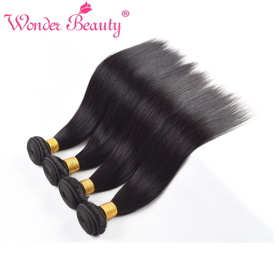 Wonder Beauty Indian Hair Straight Hair Natural Black Hair With 4 Bundles Length From 8 Inches to 30 Inches Free Shipping