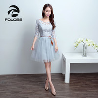 FOLOBE Vintage 6 Styles Light Grey Tulle Sleeveless Sash Lace Women Girl Dress Formal Dresses Party