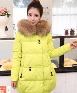 Europe and America women plus size outerwear real fur collar A-line loose full sleeve solid elegant cotton coat jacket W202