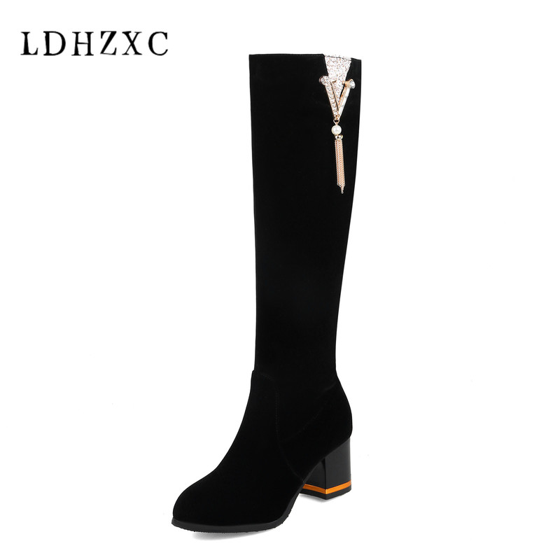 Ldhzxc 2018 New Fashion Chunky Block High Heels Knight -8065