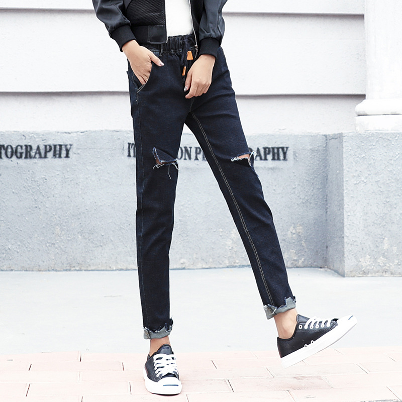 Autumn Fashion Mid Waist jeans High Elastic Women Hole Jeans woman femme washed casual Loose Denim Harem pants 9912 autumn fashion mid waist jeans high