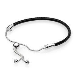 CKK браслеты раздвижные черные кожаные браслеты для женщин DIY талисманы бусины 925 пробы 100% серебряные ювелирные украшения