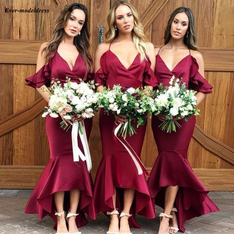 2019 Latest High Low   Bridesmaid     Dresses   Off Shoulder Mermaid Modest Burgundy Maid of Honor   Dress   Wedding Guest Party Gowns Cheap