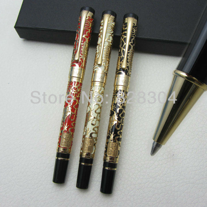 3pcs Free Shipping NIB Jinhao Ping cursive italic style celluloid 0.7MM perfect carvings Pattern Roller Pen italic nib art fountain pen arabic calligraphy black pen line width 1 1mm to 3 0mm
