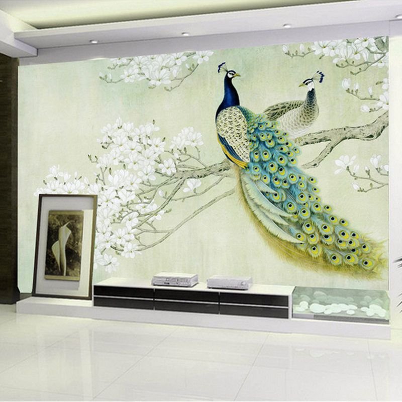 Custom 3D Photo Wallpaper European Style Magnolia Flower Blue Peacock Wall Painting Modern Living Room Home Decor Mural Paper drawer