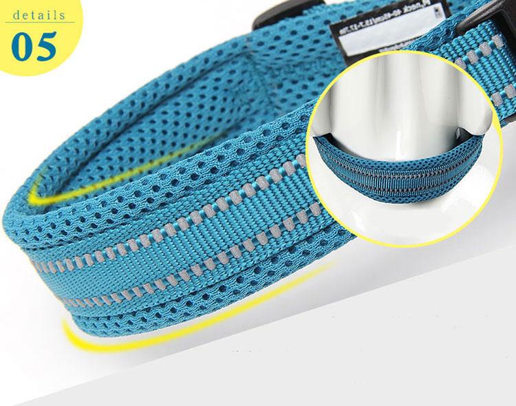 Collar para perro Nylon con acolchado de malla reflectante 8