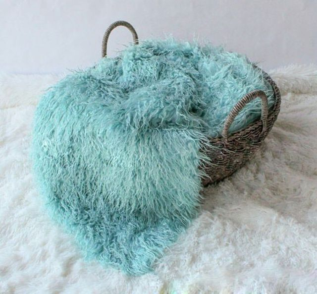 150cm*1m Newborn Photography Props Blankets,Soft Plush Baby Blanket Basket Stuffer,Faux Fur Fotografia  Background,#P0233