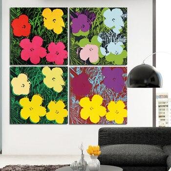 אנדי וורהול פרחי קיר אמנות הדפסי ציור שמן על בד ללא מסגרת קיר תמונות לסלון בד ציור