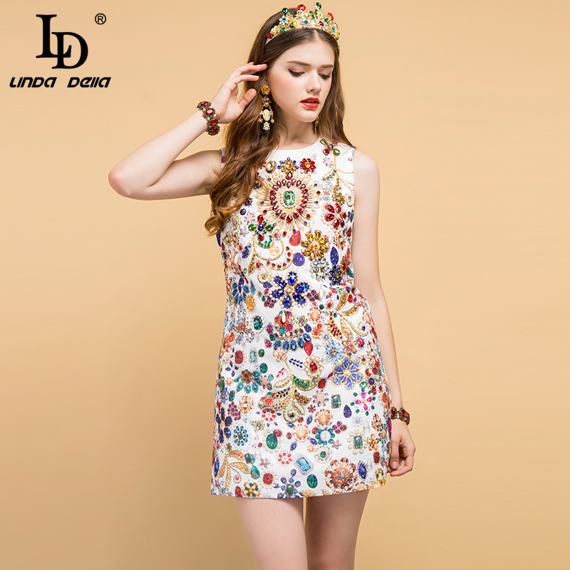 LD LINDA DELLA 2019 Fashion Runway Summer Dress Women s Sleeveless Gorgeous Crystal Beading Elegant Vintage