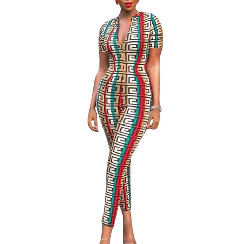 2019 Bodysuit Womens Plus Size Tight Jumpsuit Ladies Rompers Zipper Sexy V Neck Geometric Print Party Jumpsuits Playsuits Romper
