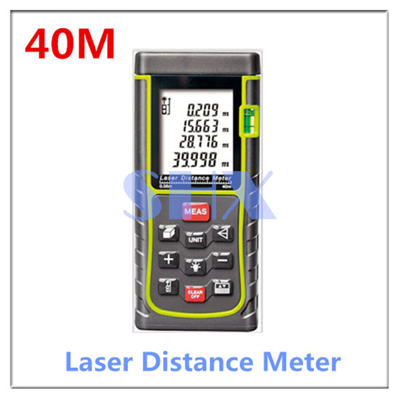 цена на Digital Laser distance meter 40m 131ft Laser Rangefinder Tape Laser Range finder measure Distance/Area/Volume M/Ft/in Level Tool