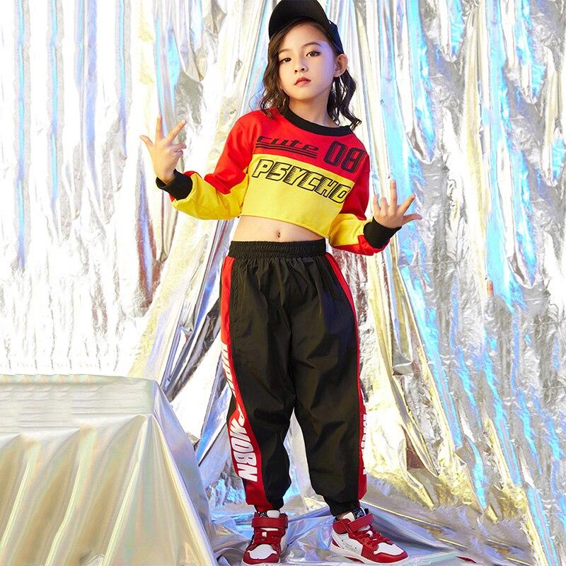 2019 Hip Hop Costumi Di Danza Per Bambini Allentata Del Bicchierino Top Nero Dei Bambini Dei Pantaloni Di Ballo Di Strada Vestiti Delle Ragazze Di Jazz Di Scena Dancewear Dn2780