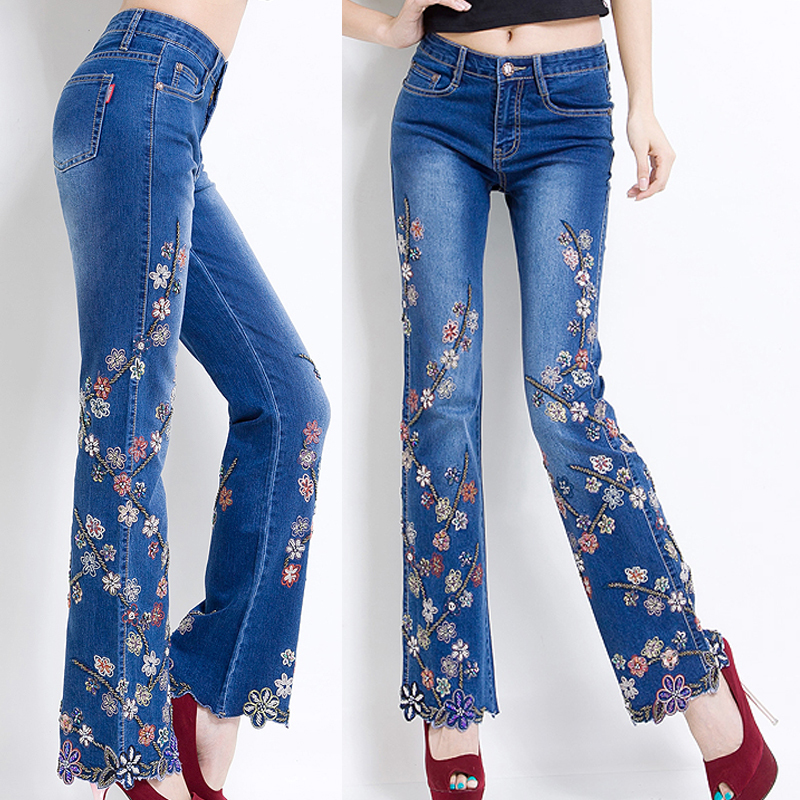 Online Get Cheap Embroidery Flower Flare Jeans -Aliexpress.com ...