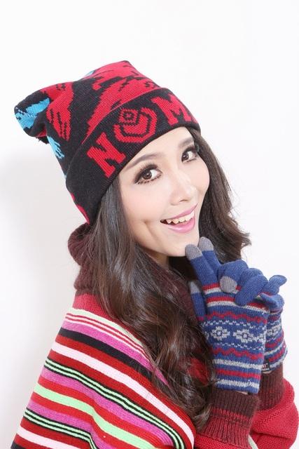 Envío gratis 2015 nueva mujer de elegante invierno gorros de punto gorros para la mujer Ptint Skullies el día las para mujer moda sombreros