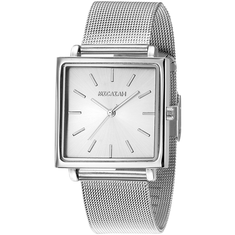 MICAIAH Personality Square Dial Watch Fashion Steel Mesh With Quartz Ladies Watch Waterproof Watch Casual Wind Watch Gift