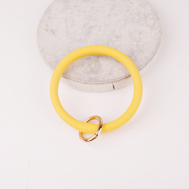 Rainbery New Fashion Monogram PU Leather O Custom Circle Wristlet Key chain 3