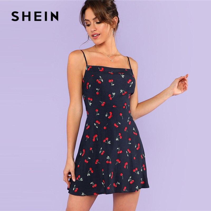 SHEIN Multicolor Weekend Casual Allover Cherry Print Natural Waist Short Spaghetti Strap Cami Dress Summer Women Going Out Dress