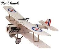 Avión de madera de Balsa teledirigido con corte láser, marco de Sopwith-SE5A biplano sin cubierta, Wingspan, 378mm, Kit de construcción de modelo de madera Balsa