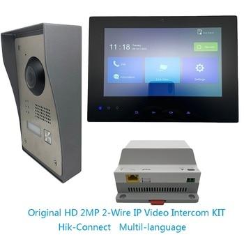 Multi-language Hik without logo original HD 2MP 2-Wire IP Video Intercom KIT Bundle,IP doorbell,dooe phone,waterproof Video Intercom