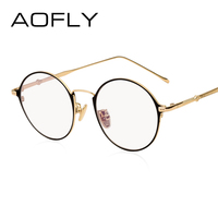 AOFLY Elegancki Owalny Zwykły Okulary Kobiety Marka Projektant Mody Metalowej Ramie Okulary Clear Lens Okulary Wysokiej Jakości AF9105