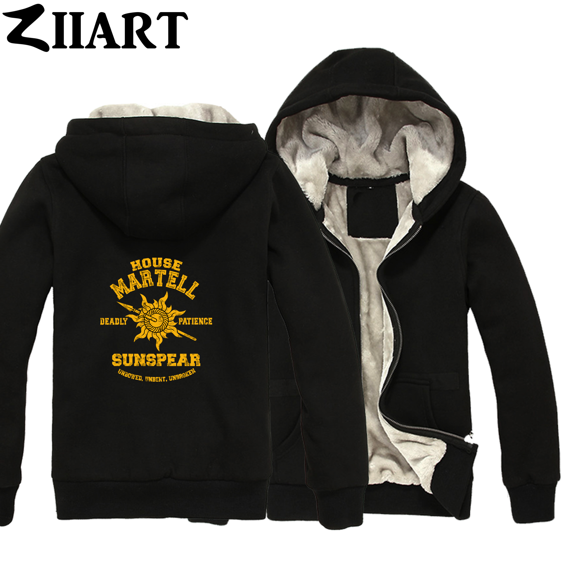 Martell House martell deadly patience sunspear unbowed unbent Boys Man Male Full Zip Autumn Winter Plus Velvet   Parkas   ZIIART