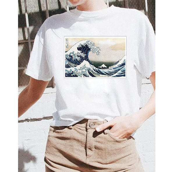 2019 Artistic Kanagawa Wave Print Tt Shirt Cotton Casual T T Shirt Female Tops Tee Hipster Tumblr Harajuku