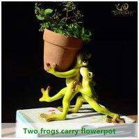 ED Garden Supplies Decoration Resin Animal Two Frog Garden Ornaments Garden Flower Pot Decoration Households