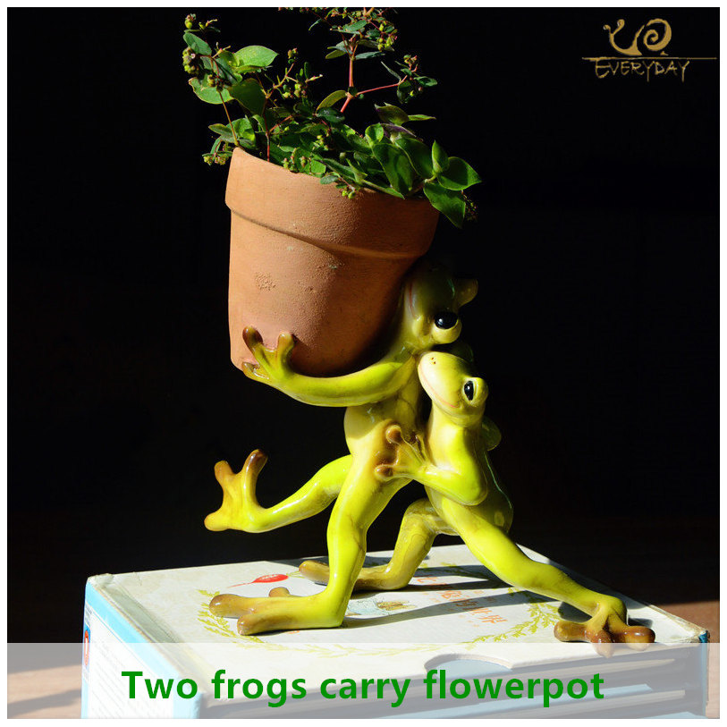 Everyday Collection Home Decor Mini Flower Pot Fairy Garden Animal Frog succulent pot Outdoor Decoration Clay Flowerpotclay flowerpotsdecorative flowerpotsgarden flowerpot -