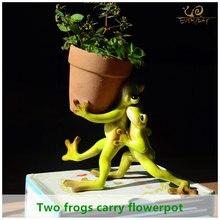 Mini Pot de fleurs décoratif pour la maison, pot de fleurs en argile, décoration dextérieur, Animal féerique et grenouille
