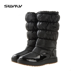 Offre spéciale mondiale 100,000 paires bottes de neige d'hiver nouvelle marque 2017 chaussures imperméables femme, plate-forme bottes en peluche grande taille 41