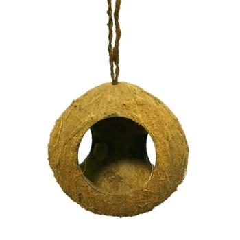 Coconut Husk Nest for Parrots/Hamster/Lizard Aquarium Animals 3-Hole Natural Coconut Shell Birds Feeder Dispenser Food Feeding 1