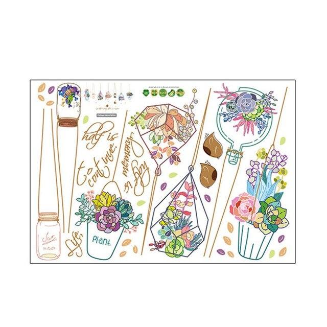 2018 Quente Dos Desenhos Animados adesivos de parede vaso de flores cesta de decoração adesivos quarto cabeceira dormitório fundo adesivos de parede
