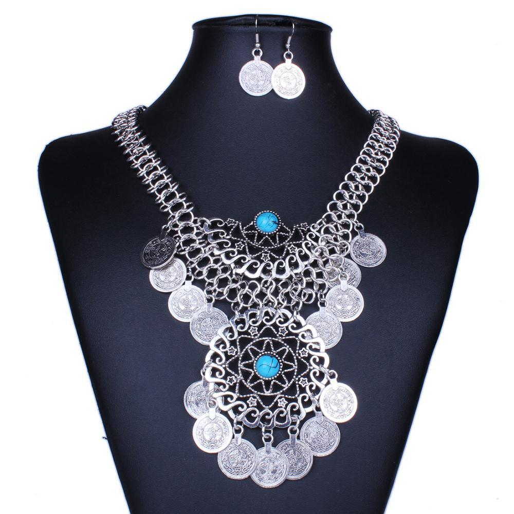 Gypsy Beads Coin Fringe Tassel Hollow Round Bib Statement Necklace Earrings Set Gypsy Antalya Silver Festival Turkish