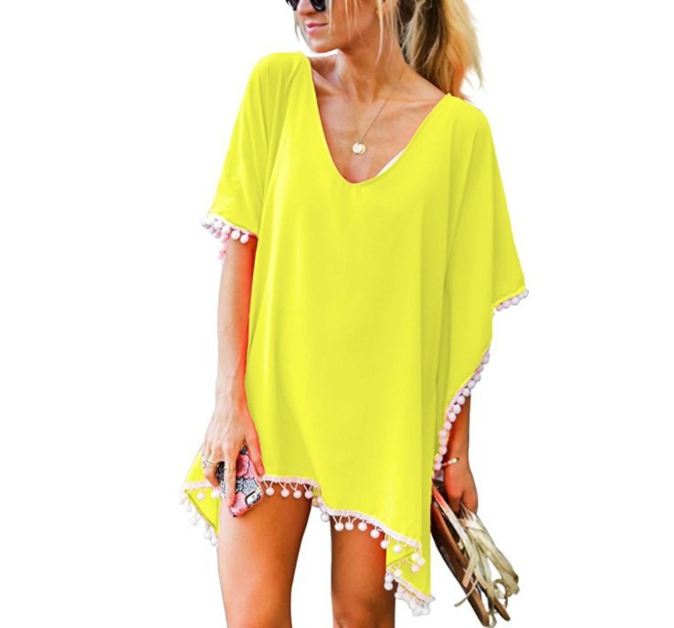Pareo Beach Dress Cover Up Swimsuit Tunic New Chiffon Pure Color Bead Skirt Loose Large Size Shirt Plavky Coverups Robe De Plage цена