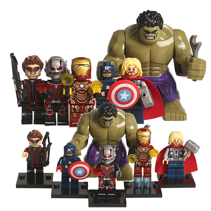 Marvel The Avengers 2 Super Heroes Action Figures Hulk Iran Man Captain America Spiderman Civil War Building Blocks Bricks Gift civil war battleship the monitor level 4