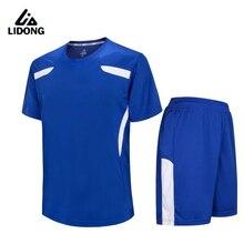 LIDONG New Men Soccer Jerseys shorts Set Youth Kids boy survetement football 2017 Futbol Kit Training Breathable maillot de foot