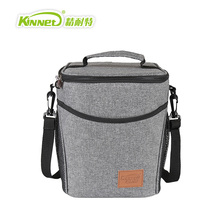Large Bucket Insulation Package Lunch Bags Ladies Warm Food Picnic Boxes Office Staff Aluminum Thermo Cooler Women HandBags Gray