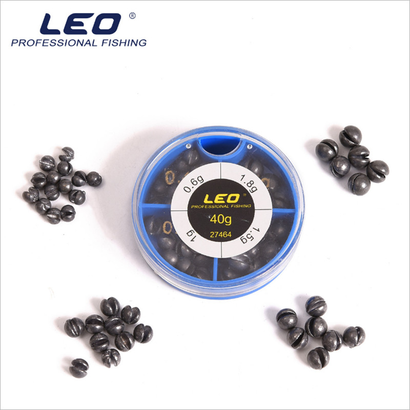 Leo 40g Plastic Boxed Split Lead Sinkers 0.6/1/1.5/1.8g In 4 Compartments Fishing Tackle Box Explosion Model Water Droplets Tool