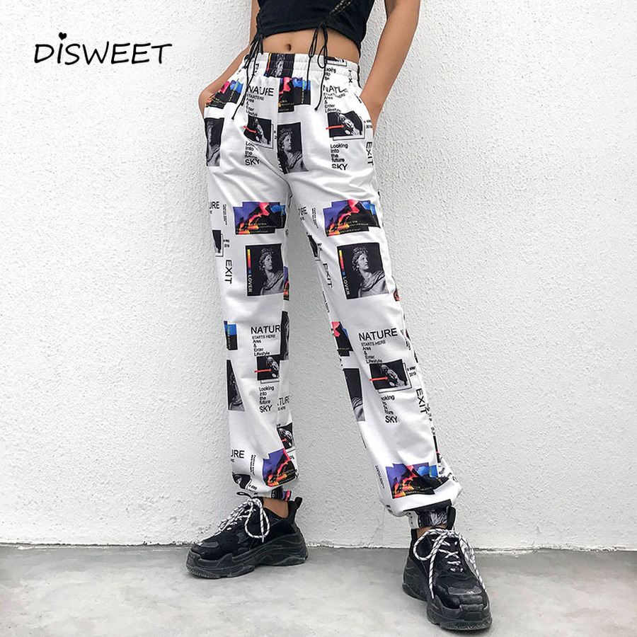 Printed Harem Pants Women High Waist Slime Lastic Waist Letter Pants Ladies 2019 Summer New Fashion Full Length Pants Woman