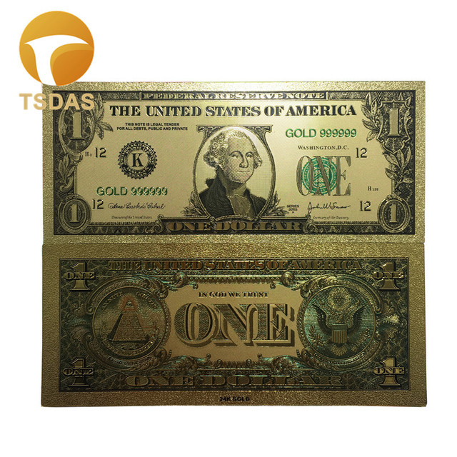 World Fake Money Collection 10pcs Set Banknotes Usa 1 Dollars Gold Foil Banknote Bill Currency Gifts Free Shipping