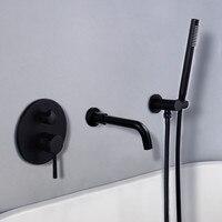 Bathtub Faucet Brass Bathroom Bathtub Mixer Tap Hot and Cold Bath Shower Faucets Wall Mounted Black Bathtub Shower Faucet Set