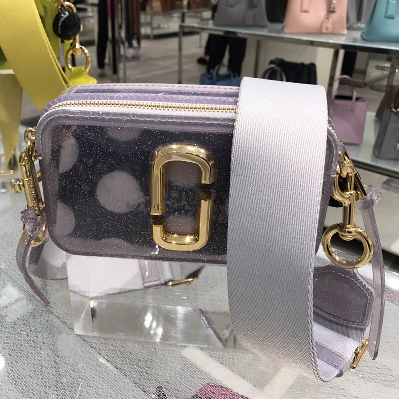 2019 New Ripple Point PVC Transparent Jelly Bag Wide Shoulder Strap Mini Mj Camera Bag Shoulder Messenger Bag Small Bag
