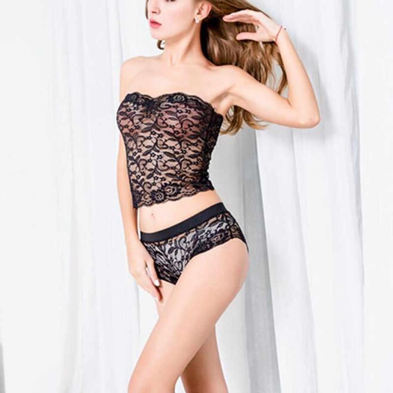 Hot Fashion New Sexy Women Bra Set Strapless Lace Hollow Out Lingerie  Underwear Girls Bra Panty 02ce6925f