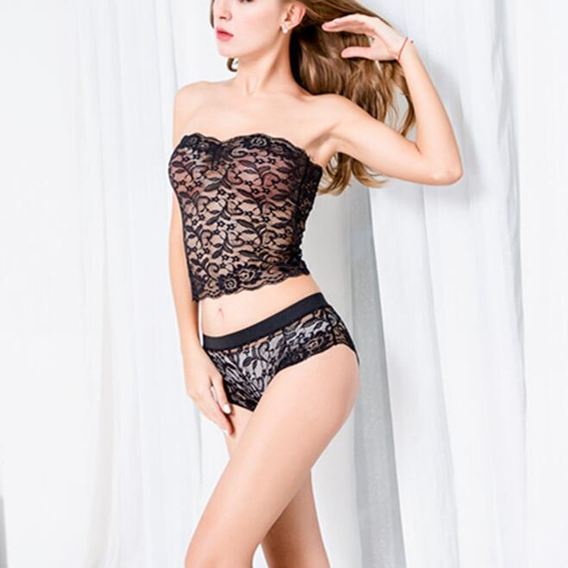 Hot Fashion New Sexy Women Bra Set Strapless Lace Hollow Out Lingerie Underwear Girls Bra Panty Set lingerie top